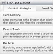 Snapshot view of the Strategy Library to shows can choose pre-built strategies like 'Trend Following', 'Counter Trends', or 'Dip Buyer', or strategies you have previously saved.